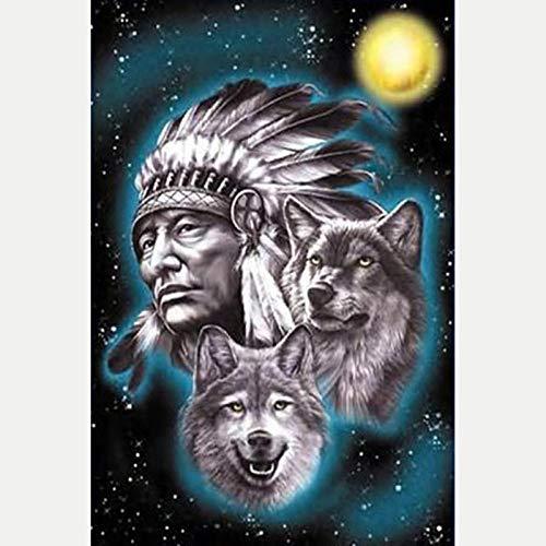 DIY 5D Diamante Pintura Completo Kits Pinturas por Numeros, Bordado Punto de Cruz Manualidades Lobo animal hombre tribal Art para Decoración de Pared del Hogar Regalos para adultos y niños 30 * 40cm