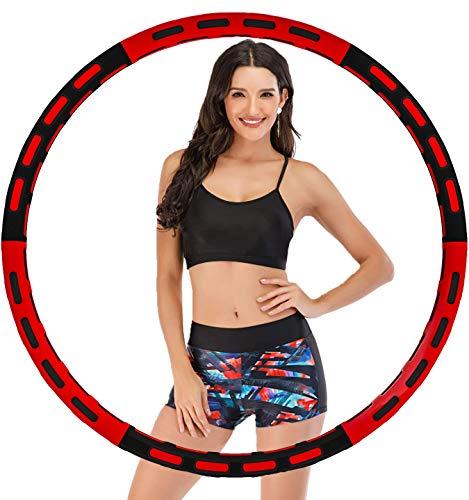 Wangdahua Hula Hoop Reifen Erwachsene, Gewichten Einstellbar von 1Kg-5Kg, Mit Schaumstoff 6 Abschnitt Abnehmbares Hullahub Reifen zum abnehmen anfänger Und Abdominale Massage,Red Black