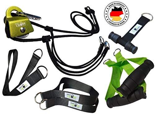 BodyCROSS Premium Schlingentrainer mit Umlenkrolle für zuhause| Sling Trainer Set mit Befestigung und Türanker | Krafttraining Made in Germany | geprüft und Zertifiziert | 10 Jahre Garantie