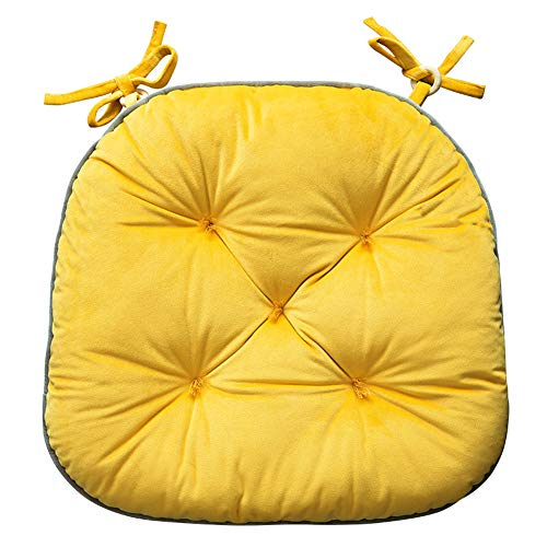Happiness Decoration Thick Pleuche Non Slip Seat Cushion Pillow Comfort and Softness Tatami Soft Dining Chair Pad with Ties Solid Color Floor Cushion (Yellow, 2)