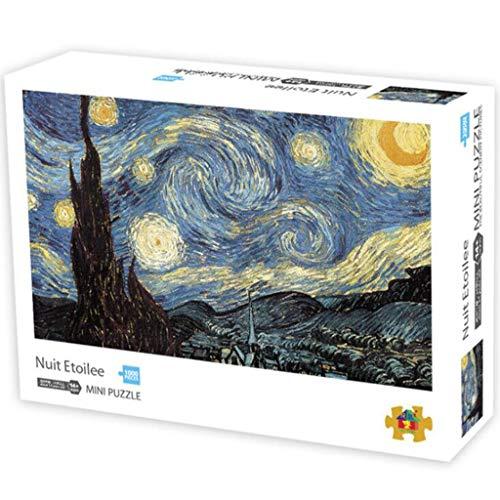 Puzzle Classico, Istruzione gioca il regalo Pressione La notte stellata di Van Gogh 1000 parti puzzle for i bambini di età uomo Donne Teens ridotto Robusto e facile