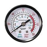 Pressiomètre 13 mm 1/4 BSP Filetage 0-180 PSI 0-12 Manomètre Double échelle pour compresseur d'air