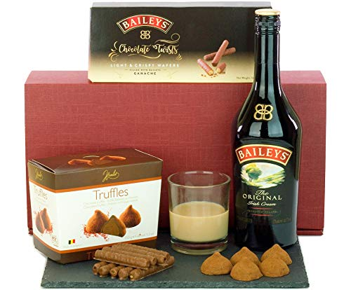 Bailey's (70cl Sized), Truffles and Chocolate Twists Hamper presented in a Bordeaux Gift Box with Name-a-Rose Gift