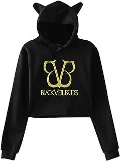 Black Veil Brides Sexy Cat Ear Exposed Navel Fashion Kawaii Crop Top Sweater Womens