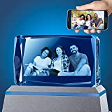 3D Photo Crystal Laser Etched Crystal Picture Free LED Base Personalized Memorial Birthday Gift for Mom Dad Family Friends Girl Boy Customized Wedding Gift for Wife Husband Women Men -Small Horizontal