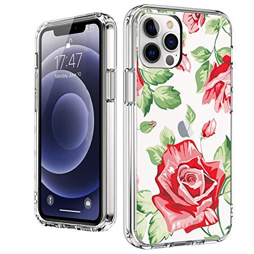Funda transparente con diseño bonito compatible con iPhone 12 Pro Max 6.7 pulgadas 2021, diseño de flores para mujer, fina y suave, a prueba de golpes, diseño de flores (rojo/verde/rosa)