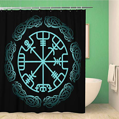 Awowee Bathroom Shower Curtain Celtic Vegvisir The Magic Navigation Compass of Ancient Icelandic Vikings Polyester Fabric 66x72 inches Waterproof Bath Curtain Set with Hooks
