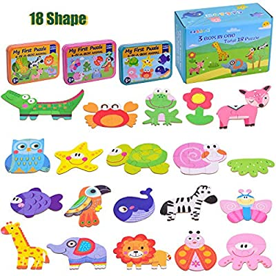 CASAON 18 Shape Toddler Puzzles for 3-5 Year Old, Animal Series & Sea Series & Field Critters Series Box Puzzles for Toddler Kids