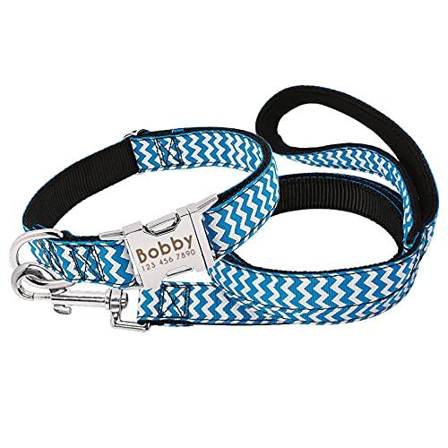 collar perros Cuello Personal de Nylon personalizado Personalizado Impreso Placa de identificación Collar Set de correa grabada Cuello de etiqueta de mascota ajustable para perros grandes grandes