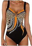 FIYOTE Damen Badeanzug Oversize Bademode Bauchweg Sportlich Tankini Push Up figurformend Bandeau, 1-orange, S