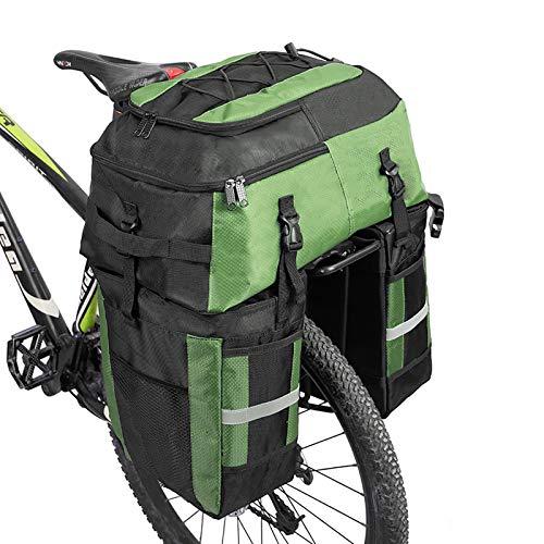 Alforjas de 70 L para bicicleta Mochila alforja para portaequipajes trasero de bicicleta, Bolsa de maletero trasero para bicicleta Lleva todo lo esencial (Verde)