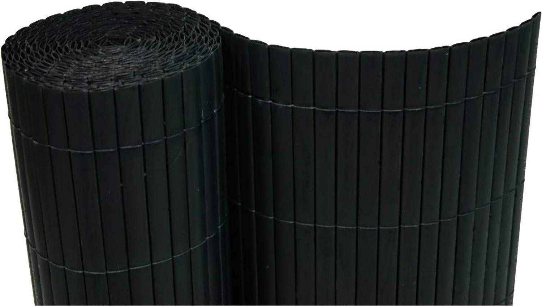 Dynamic24 PVC Sichtschutzmatte 200x1000 cm schwarz Balkon Sichtschutz Zaun Windschutz