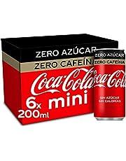 Coca-Cola Zero Azucar Zero cafeïne - Cola verfrissing zonder suiker, zonder calorieën, zonder cafeïne - verpakking met 6 mini-blikjes 200 ml