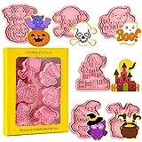Crethink - Set di 6 formine per biscotti di Halloween 3D, stampabili per Halloween, per pipistrelli, zucca, teschio, stampati, per pasticceria da cucina