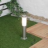 Flora - Lámpara de pie redonda de madera, pantalla de tela, gris, blanco, antideslumbrante, altura: 160 cm, E27, escandinavo, lámpara de pie