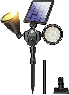 ROSHWEY Outdoor Solar Spotlights, 36 LED Double Head Security Light 1000LM Waterproof Landscape Light with Motion Sensor for Garden Landscape Patio Porch Deck Garage(Warm White, 1 Pack)