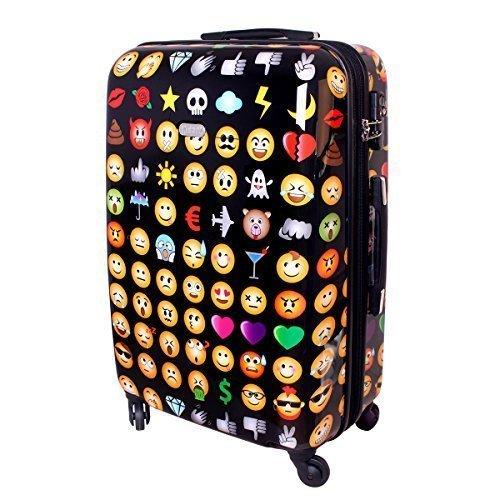 Karry , Valigia , XL Hartschalen Reise Koffer Trolley TSA 80 Liter Schwarz Emoji 820 (Multicolore) - 49427561