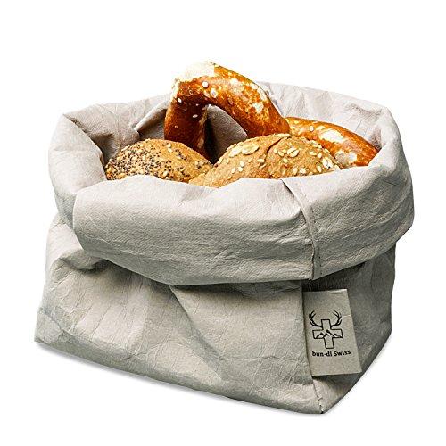 bun-di Swiss KREMPELBOX L - als Brotkorb, Obstkorb, Deko-Übertopf, Utensilo, Aufbewahrungskorb, Geschenkbox - Waschbares Papier mit Lederoptik/Veganes Leder - ca. 15cm Ø (Stone)