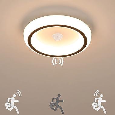 16W Plafonnier avec Détecteur de Mouvement 1440LM Lumière à Induction Étanche Lampe de Plafond Rond LED Moderne Blanc Chaud 3