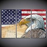 XIANRENGE Leinwanddrucke,3 Panel Tiere Adler Nationalflagge