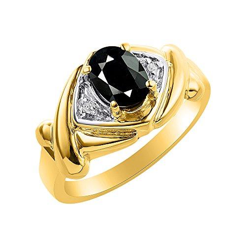 Juego de anillos de diamante y ónix en plata chapada en oro amarillo – XO Hugs & Kisses – piedra de color anillo de nacimiento