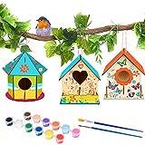 MMTX Casette di Legno per Gli Uccelli Fai-da-Te Kit, Casetta Uccelli in Legno Pittura Kit Materiale Kit per Lavoretti Creativi Costruire Casetta Uccelli Giocattoli per Bambini( 3 Pezzi )