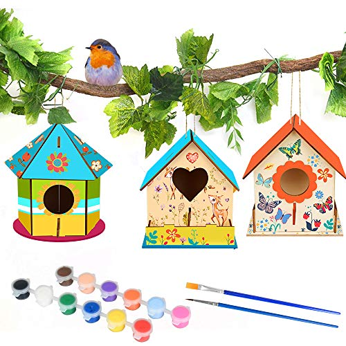 MMTX DIY Holzvogelhaus Basteln für Kinder, DIY Vogelhaus Kit Big Bird House Malerei Kit Vogelhaus Pigmentmalerei unvollendet, BAU Vogelhäuser zum Geburtstag Kinder (3 Stück)