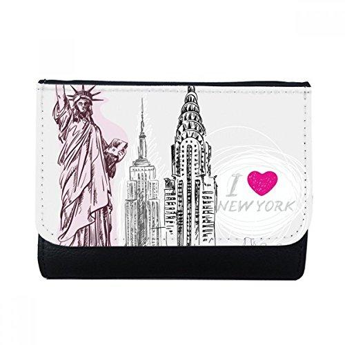 DIYthinker Ich Liebe New York Freiheitsstatue Amerika Land Stadt Multi-Funktions-Leder-Mappen-Karten-Geldbeutel-Geschenk Mehrfarbig