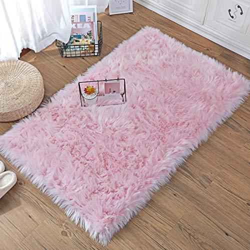 ZCZUOX Alfombra Pelo Largo Cuadrado Falso Piel de Carnero Vellón Alfombra La Decoración para salón Dormitorio baño sofá Silla cojín (Rosa, 75x120cm)