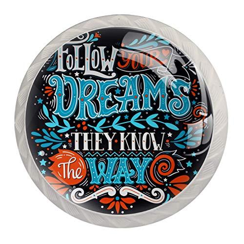 Lådhandtag skåpknoppar runt paket med 4 för skåp, låda, byrå etc. Följ dina drömmar