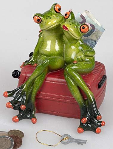 Spardose mit Schloß, Froschpaar auf Koffer 15cm aus Kunststein gefertigt und handbemalt