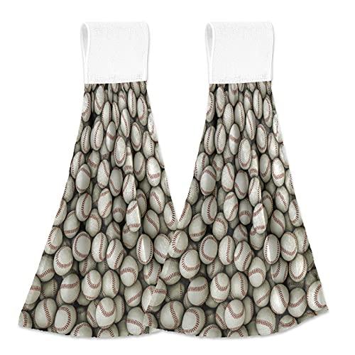 JUMBEAR Toallas de mano para colgar de béisbol deportivas, suaves, absorbentes, paños de mano con lazo para colgar, para cocina, baño, 30,5 x 40,7 cm, 2 unidades