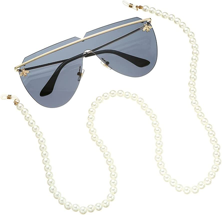 EEKLSJ Glasses Chain Straps Simulation Pearl Women Simple Bead Chain for Glasses Sunglasses Cords Accessories (Color : A, Size : Length-70CM)