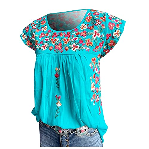 Tops for Women Floral Print Short Sleeve Round Neck Pleated T Shirts Summer Suitable for Traveling Blouses Blue