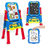Kids Easel Toddler Toys Dry Erase Board and Chalkboard Double Sides Height Adjustable Drawing Board with Extra Accessories for 3-5 Year Old Boys and Girls