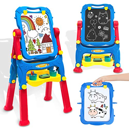 Easel for Kids Toddler Easel Dry Erase Board and Chalkboard Double Sides Height Adjustable Drawing Board with Extra Accessories for 3-5 Year Old Boys and Girls