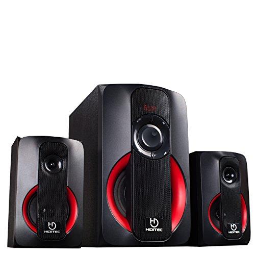 Hiditec | Potentes Altavoces H400 80W RMS | Altavoz con USB | Altavoz con Radio FM| Sistema de Sonido 2.1 (Bluetooth 4.1, USB, SD, 100W RMS, Line-In, Radio) | Potente Sonido 100w