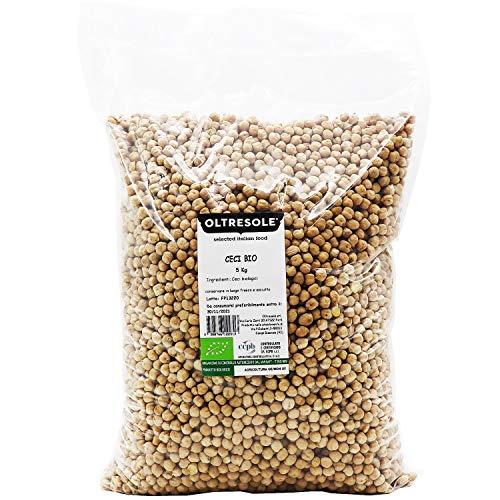 Oltresole - Ceci Biologici 5 Kg - legumi secchi bio da coltivazione controllata, naturalmente senza glutine, ottimi per preparare zuppe, insalate, vellutate e ricette salutari, confezione convenienza