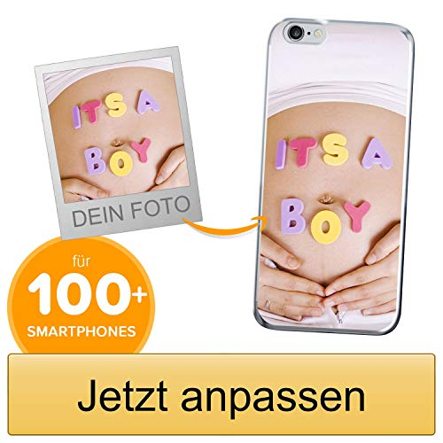 Coverpersonalizzate.it Handyhülle für Apple iPhone 6 / 6s mit Foto-, Bildern- oder Text selbst gestalten- Die Handyhülle ist aus weichem transparentem TPU-Silikon-Gel Material