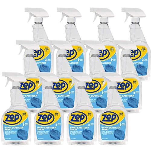 Zep Hand Sanitizer Spray 32 oz. Case of 12 Ready-to-Use Spray Made in USA (R46210)