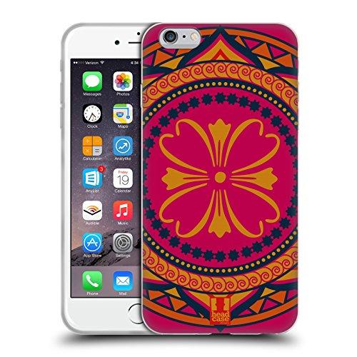 Head Case Designs Fucsia Monogrammi Indiani Cover in Morbido Gel Compatibile con Apple iPhone 6 Plus/iPhone 6s Plus