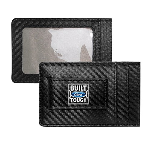 tough wallets Ford Built Ford Tough Carbon Fiber Style Minimalist Leather Slim Wallet RFID Block with Money Clip