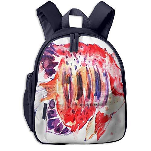Kinderrucksack Kleinkind Jungen Mädchen Kindergartentasche Marine Red Fish Paint Backpack Schultasche Rucksack