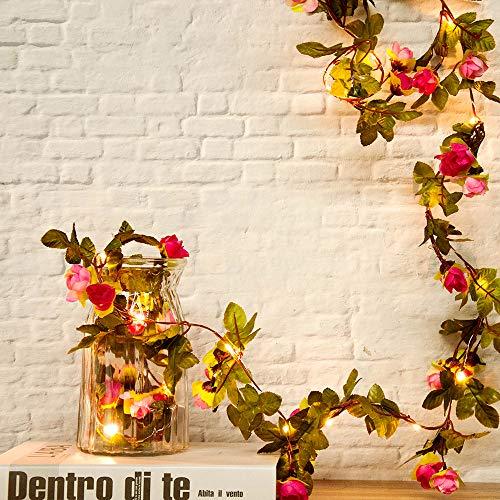 Cadena de 20 luces LED para decoración de bodas, fiestas y eventos (2 m), cobre, flor