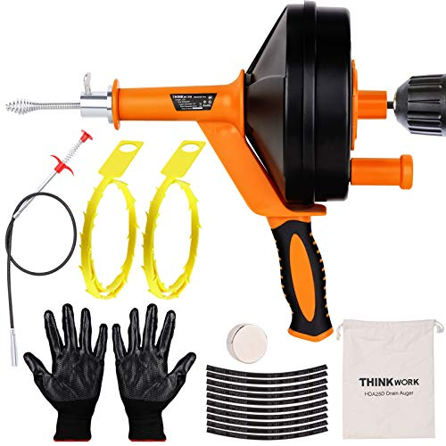 THINKWORK 25 Ft Plumbing Snake Sink Drain Auger,Professional Sink Snake Hair Clog Remover Heavy Duty Pipe Snake for Kitchen and Shower, Comes with Gloves, Magnets