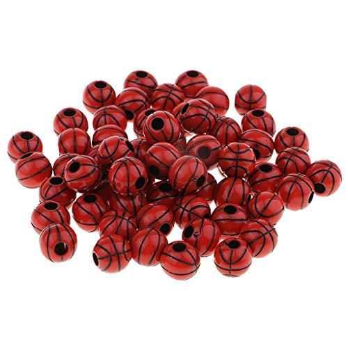 F Fityle 60 Pcs Basketball Perlen, Bastelperlen für Fädelspiel/Bastelspiel zum Basteln von Schmuck - Kaffee