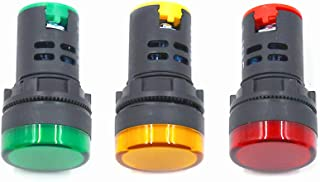 HONJIE 24VAC Led Indicator Light Energy Saving Red&Green&Yellow Signal Light Lamp AC/DC 24V Flush Panel Mount 7/8