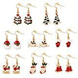 Christmas Earrings Set gifts for Womens Girls Thanksgiving Xmas Jewelry Snowman Hand Sock