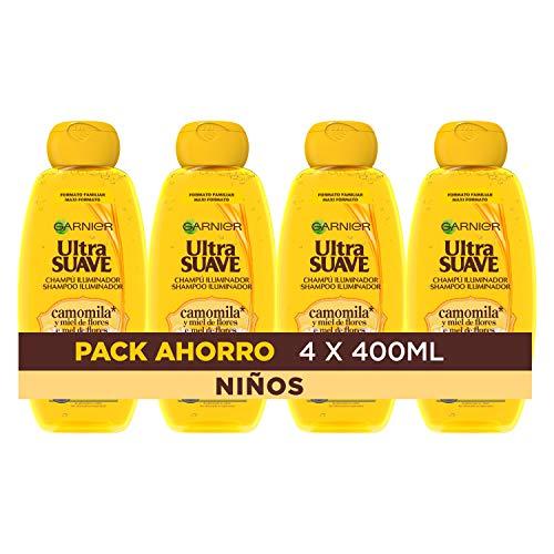 Garnier Ultra Suave Champú Iluminador con Camomila y Miel de Flores para Niños, Cabellos Claros y Rubios 400 ml - Pack de 4 x 400 ml