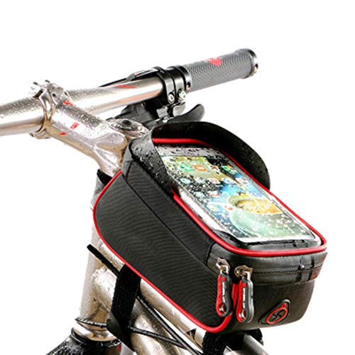 Lhh Bike Frame Bag, Waterproof Front Top Tube Bag with Sun Visor TPU Touch Screen Reflective Strip Headphone Hole Suitable for Smartphones Under 6.0 Inches